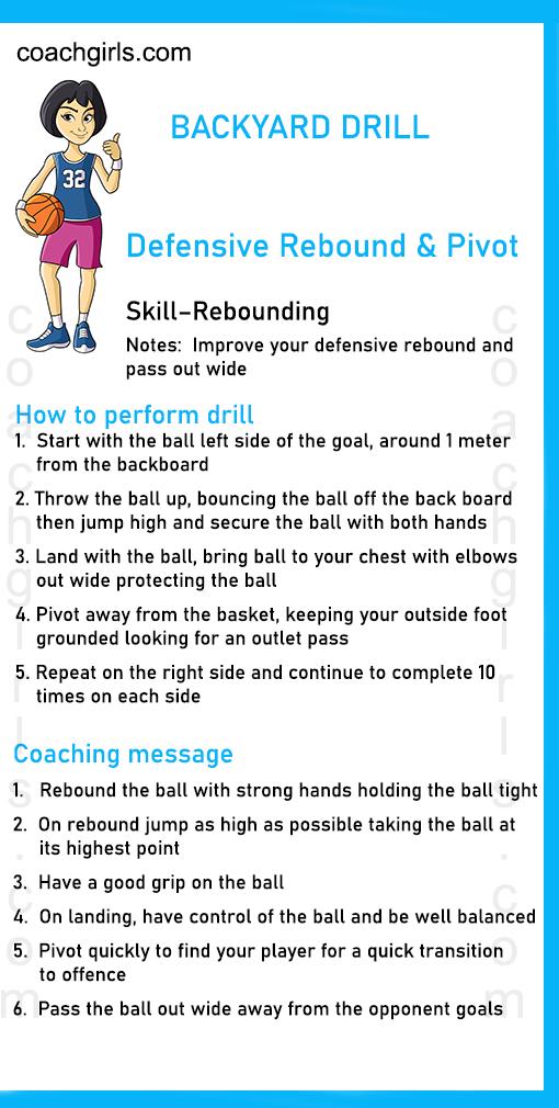 BACKYARD DRILL   Defensive Rebound & Pivot  Skill–Rebounding    Notes:  Improve your defensive rebound and pass out wide